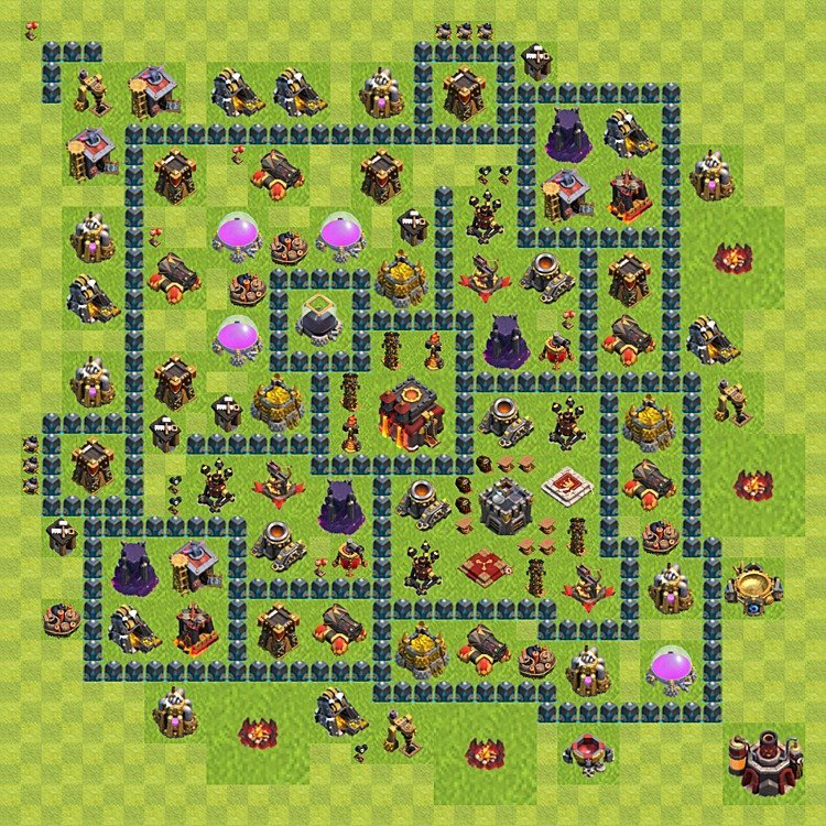 Base plan (layout) for trophies collecting TH  10 (Town Hall level 10, TH 10), variant 61