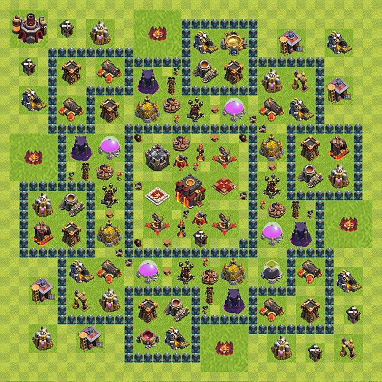 TH10 Trophy Base Plan, Town Hall 10 Base Design, #62