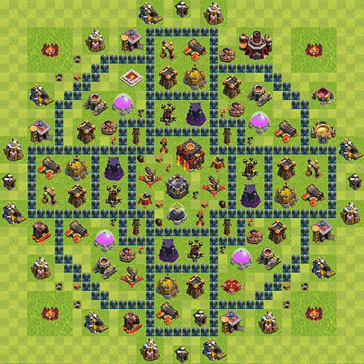 Base plan (layout) for trophies collecting TH  10 (Town Hall level 10, TH 10), variant 63
