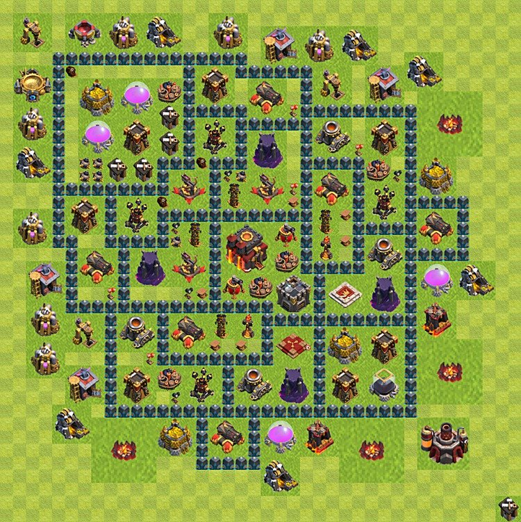 Base plan (layout) for trophies collecting TH  10 (Town Hall level 10, TH 10), variant 64