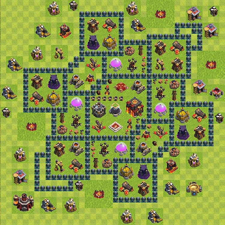 Base plan (layout) for trophies collecting TH  10 (Town Hall level 10, TH 10), variant 65