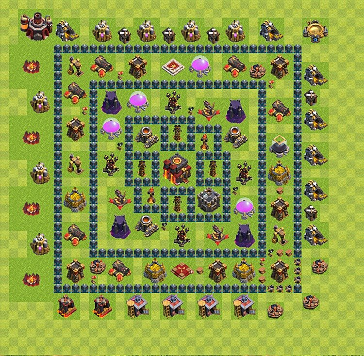 Clash of Clans base plan (layout) for trophies – Town Hall level 10