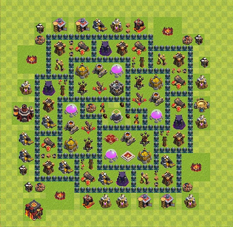 Clash of Clans base plan (layout) for farming – Town Hall level 10