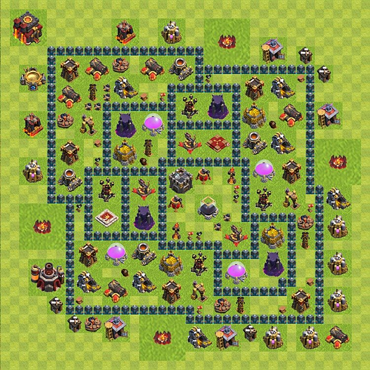 Base plan (layout) for farming TH 10 (Town Hall level 10), TH, th}), variant 45