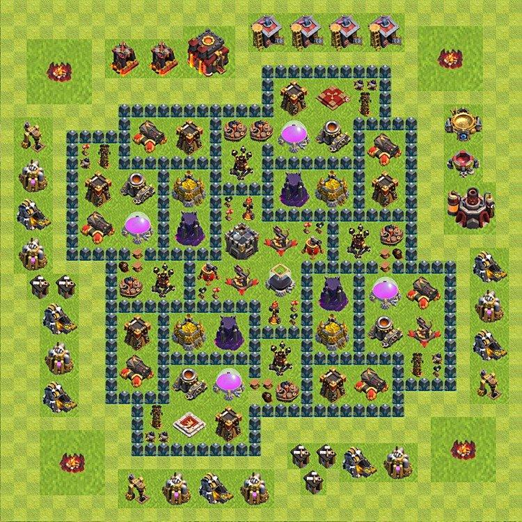 Ustawienie wioski bazy do farma clash of clans ratusz poziom 10