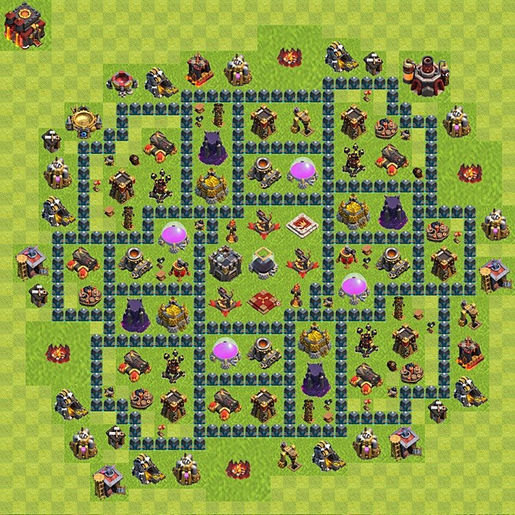 Base plan (layout) for farming TH 10 (Town Hall level 10), TH, th}), variant 54
