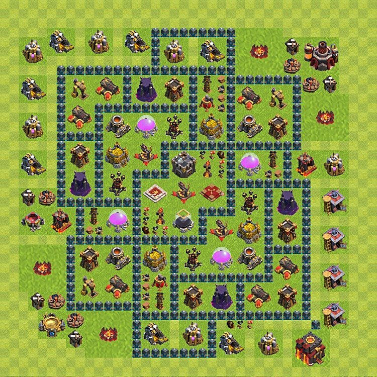 Base plan (layout) for farming TH 10 (Town Hall level 10), TH, th}), variant 55