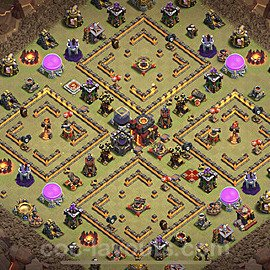 TH10 Anti 3 Stars CWL War Base Plan with Link, Copy Town Hall 10 Design 2021, #52