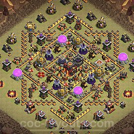 TH10 Anti 2 Stars CWL War Base Plan with Link, Copy Town Hall 10 Design 2021, #54