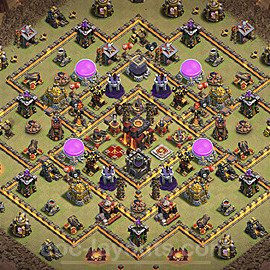 TH10 Anti 2 Stars CWL War Base Plan with Link, Copy Town Hall 10 Design 2021, #56