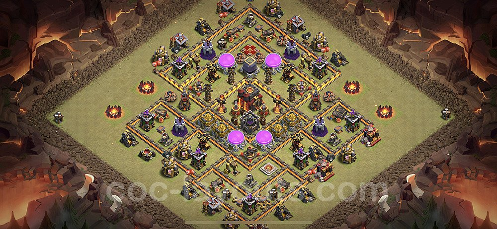TH10 Max Levels CWL War Base Plan with Link, Copy Town Hall 10 Design 2021, #65