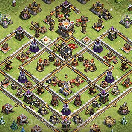 TH11 Trophy Base Plan with Link, Copy Town Hall 11 Base Design 2021, #51