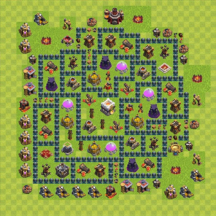 Base plan (layout) for trophies collecting TH  11 (Town Hall level 11, TH 11), variant 10