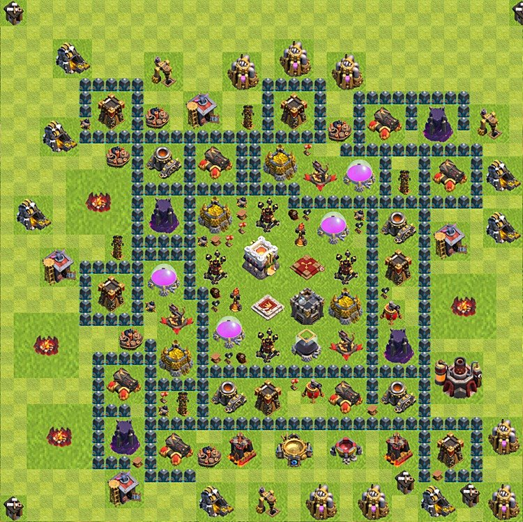 Base plan (layout) for trophies collecting TH  11 (Town Hall level 11, TH 11), variant 14