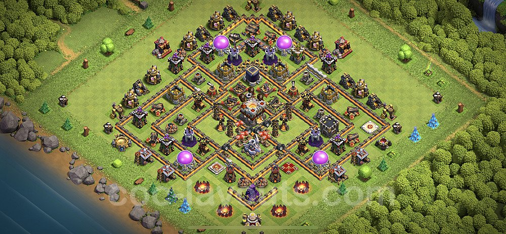 TH11 Trophy Base Plan with Link, Copy Town Hall 11 Base Design 2020, #16