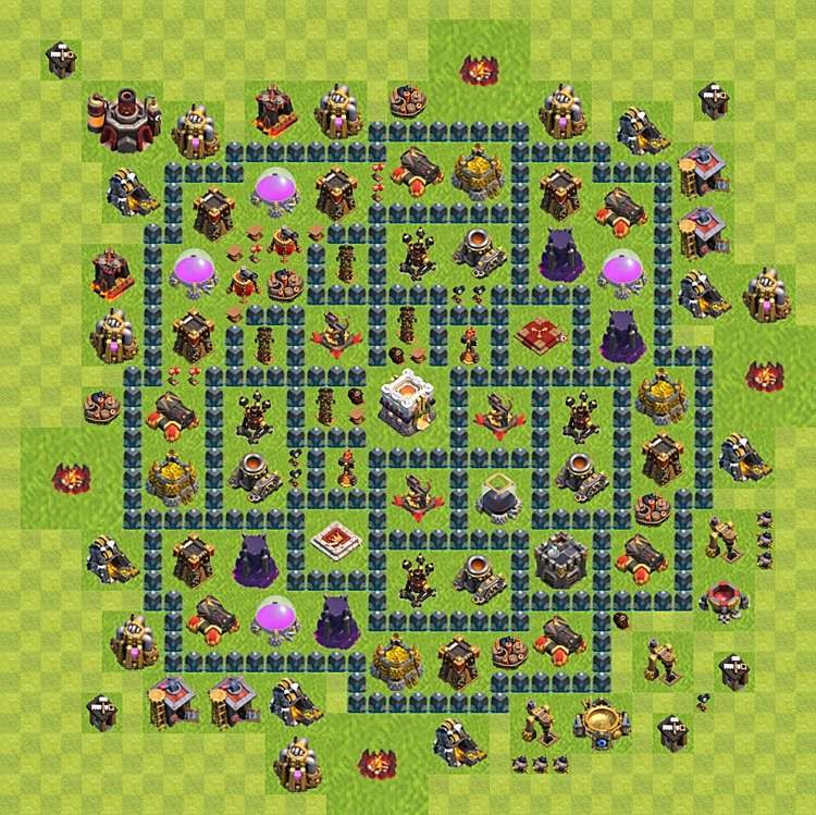 Base plan (layout) for trophies collecting TH  11 (Town Hall level 11, TH 11), variant 9