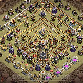 TH11 Anti 3 Stars CWL War Base Plan with Link, Copy Town Hall 11 Design 2021, #22