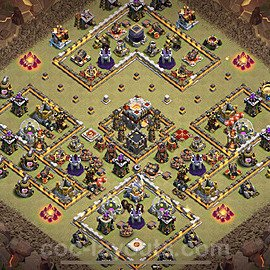 TH11 Anti 2 Stars CWL War Base Plan with Link, Copy Town Hall 11 Design 2021, #24