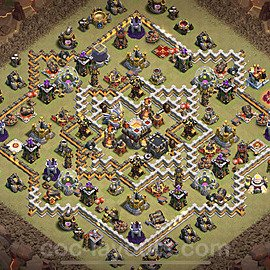 TH11 Anti 2 Stars War Base Plan with Link, Copy Town Hall 11 Design 2021, #38