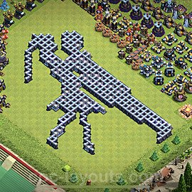 TH13 Funny Troll Base Plan with Link, Copy Town Hall 13 Art Design 2021, #12