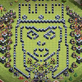 TH13 Funny Troll Base Plan with Link, Copy Town Hall 13 Art Design 2021, #13