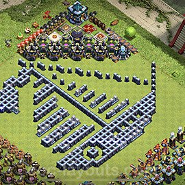 TH13 Funny Troll Base Plan with Link, Copy Town Hall 13 Art Design 2021, #14