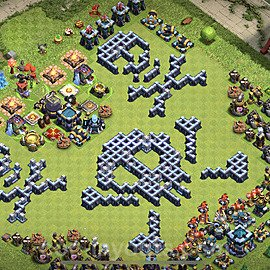 TH13 Funny Troll Base Plan with Link, Copy Town Hall 13 Art Design 2021, #16