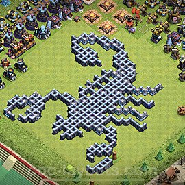 TH13 Funny Troll Base Plan with Link, Copy Town Hall 13 Art Design 2021, #18
