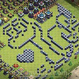 TH13 Funny Troll Base Plan with Link, Copy Town Hall 13 Art Design 2021, #19