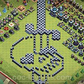 TH13 Funny Troll Base Plan with Link, Copy Town Hall 13 Art Design 2021, #20