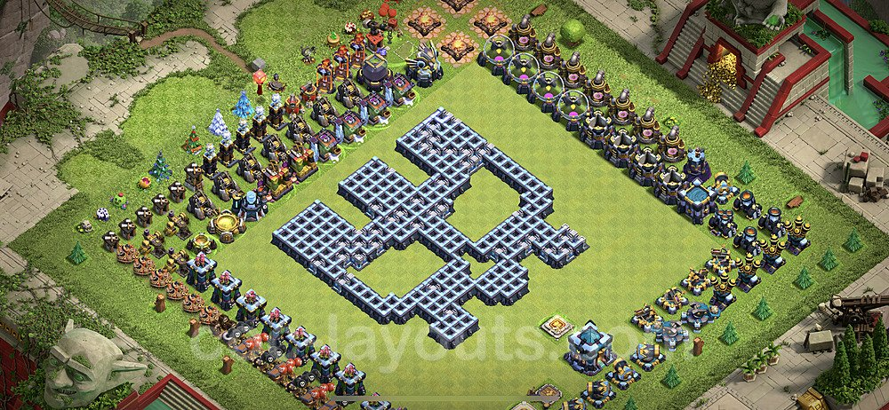 TH13 Funny Troll Base Plan with Link, Copy Town Hall 13 Art Design 2021, #11
