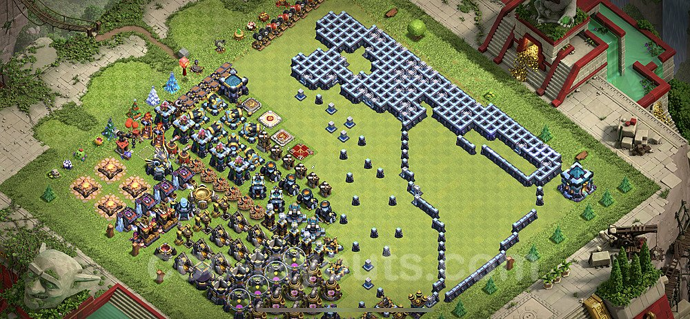 TH13 Funny Troll Base Plan with Link, Copy Town Hall 13 Art Design 2021, #17