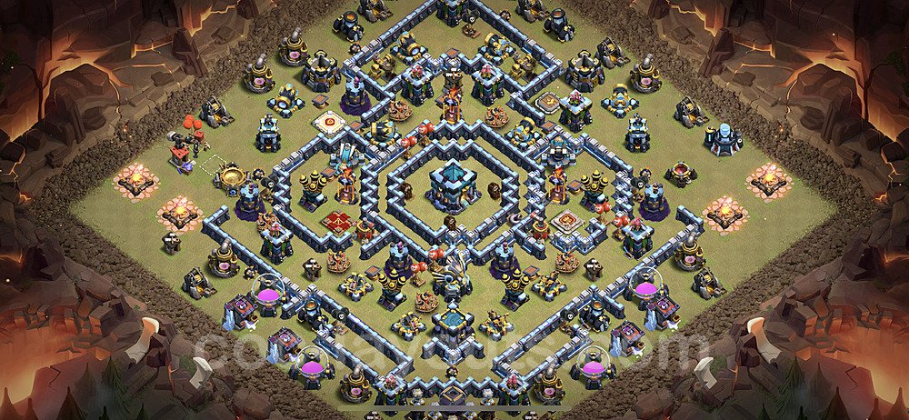 TH13 Anti 3 Stars War Base Plan with Link, Copy Town Hall 13 Design 2021, #41