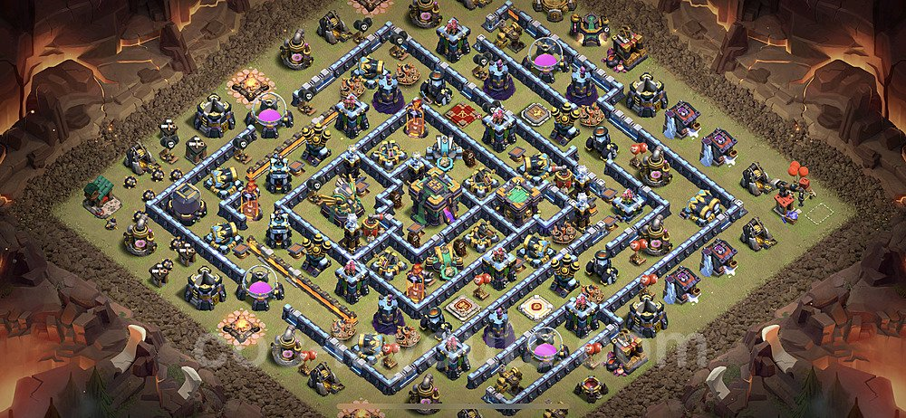 TH14 Anti 2 Stars CWL War Base Plan with Link, Copy Town Hall 14 Design 2021, #22
