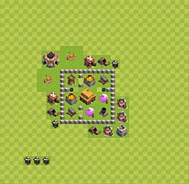 Base plan Town Hall level 3 for trophies (defence) (variant 11)