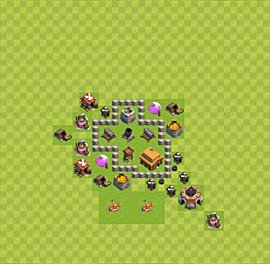 Base plan Town Hall level 3 for trophies (defence) (variant 12)