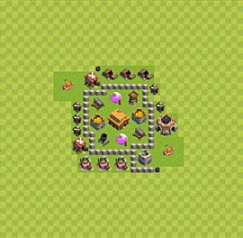 Base plan Town Hall level 3 for trophies (defence) (variant 15)
