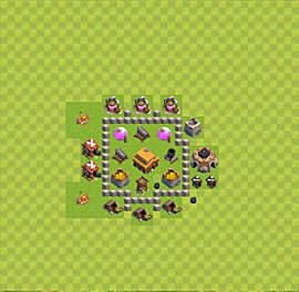 Base plan Town Hall level 3 for trophies (defence) (variant 16)