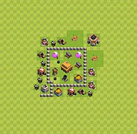 Base plan Town Hall level 3 for trophies (defence) (variant 17)