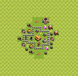 Base plan Town Hall level 3 for trophies (defence) (variant 18)