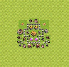 Base plan Town Hall level 3 for trophies (defence) (variant 19)