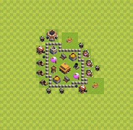 Base plan Town Hall level 3 for trophies (defence) (variant 20)