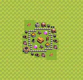 TH3 Trophy Base Plan, Town Hall 3 Base Design, #22