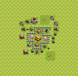 TH3 Trophy Base Plan, Town Hall 3 Base Design, #27