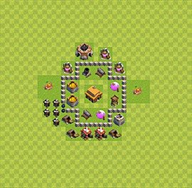 TH3 Trophy Base Plan, Town Hall 3 Base Design, #28