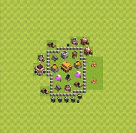 TH3 Trophy Base Plan, Town Hall 3 Base Design, #29
