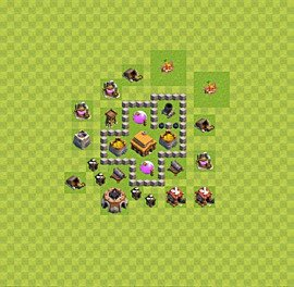 TH3 Trophy Base Plan, Town Hall 3 Base Design, #32