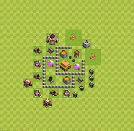 Base plan Town Hall level 3 for trophies (defence) (variant 34)