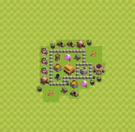 Base plan Town Hall level 3 for trophies (defence) (variant 35)