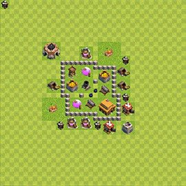 Base plan Town Hall level 3 for trophies (defence) (variant 37)
